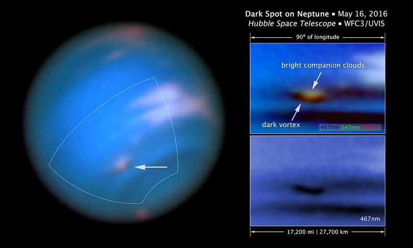 4800 km uzunluğundaki koyu girdap sağ üstteki resimde parlak bulut ile görülürken, sağ alttaki resimde daha net görülüyor.
